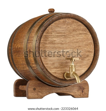 Vintage wooden barrel isolated on white - stock photo