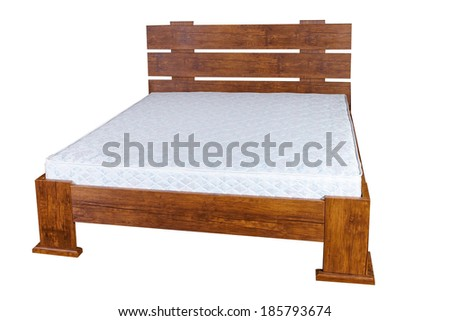 vintage wooden bed isolated on white background