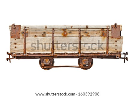 Vintage wooden car for the narrow-gauge railway isolated on white background - stock photo