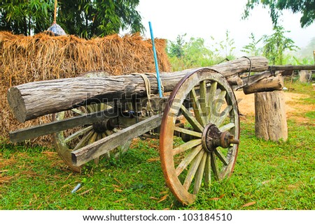 vintage wooden cart - stock photo