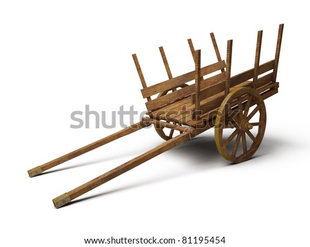 vintage wooden cart - 3d illustration isolated on white - stock photo