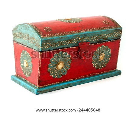 Vintage wooden casket from India - stock photo