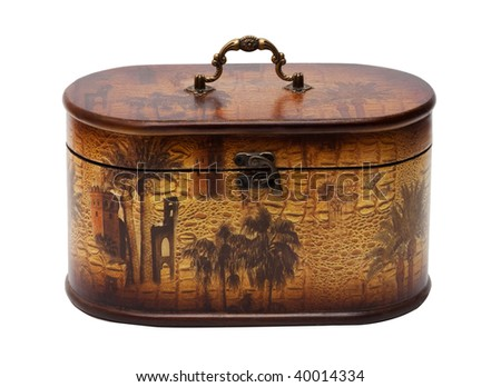 Vintage wooden casket isolated on the white background - stock photo