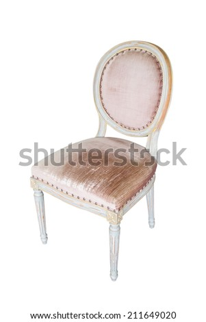 Vintage Wooden chair. Isolated on white background - stock photo