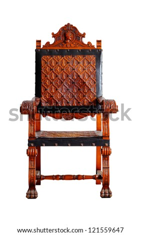 vintage wooden chair isolated on white clipping path