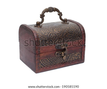 vintage Wooden chest on white background, closed