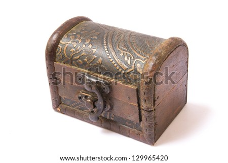 vintage wooden chest over white, clipping path