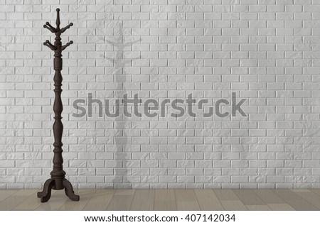 Vintage Wooden Coat Rack in front of Brick Wall. 3d Rendering - stock photo