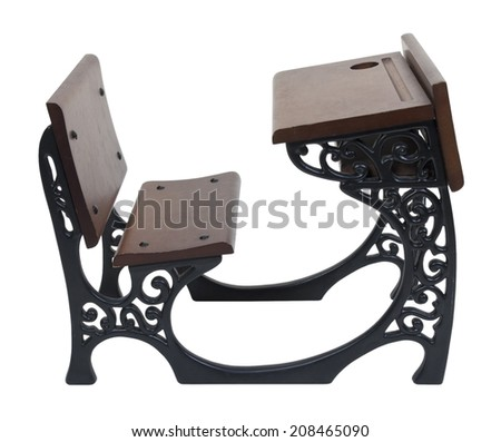 Vintage wooden desk with intricate metal scrolled sides - path included - stock photo