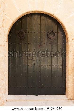 Vintage wooden door in arch - stock photo