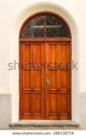 Vintage wooden door in wall arch - stock photo