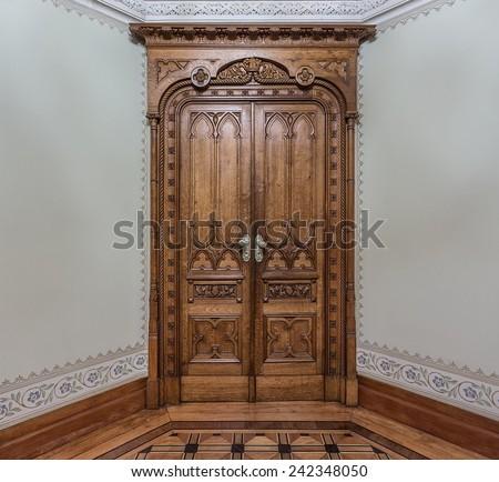Vintage wooden door. Middle of the century. - stock photo