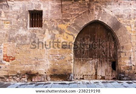 Vintage wooden double door in old arch - stock photo