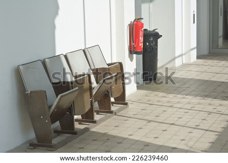 Vintage Wooden Folding Down Theater Seating - stock photo