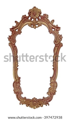 Vintage wooden frame for a mirror is isolated on a white background - stock photo