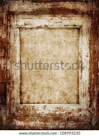 Vintage wooden frame with empty space inside - stock photo