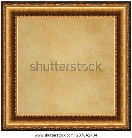 vintage wooden frame with old paper isolated on white background
