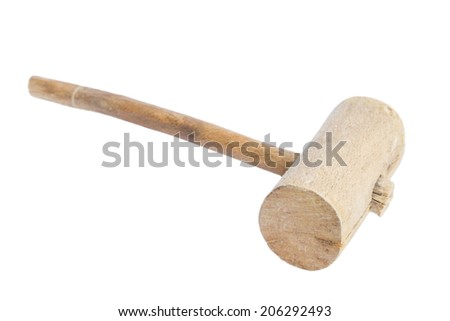 Vintage wooden hammer isolated