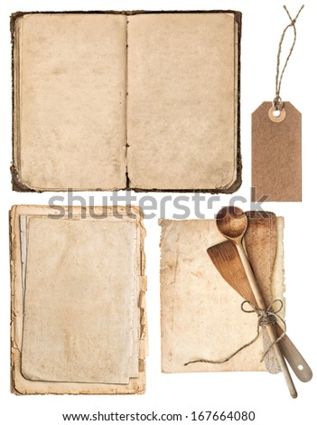 Vintage wooden kitchen utensils, old cookbook, pages and tag isolated on white background. Grandma's recipes book concept - stock photo