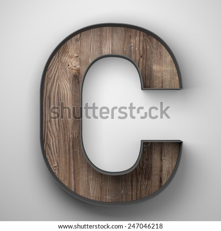 Vintage wooden letter c with metal frame - stock photo