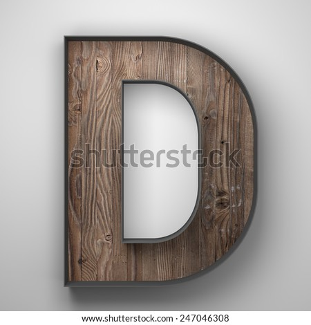 Vintage wooden letter d with metal frame - stock photo
