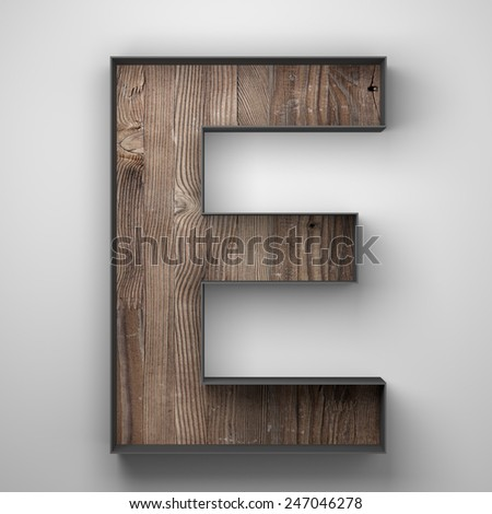 Vintage wooden letter e with metal frame - stock photo