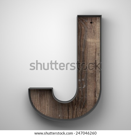 Vintage wooden letter j with metal frame - stock photo