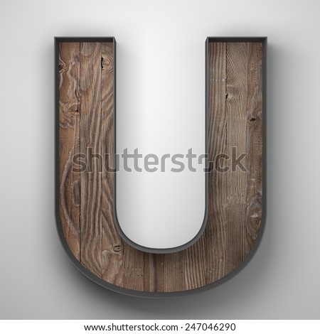 Vintage wooden letter u with metal frame - stock photo
