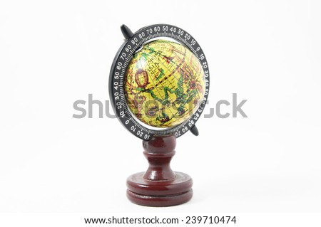 Vintage Wooden Old Globe Earth on a White Background - stock photo