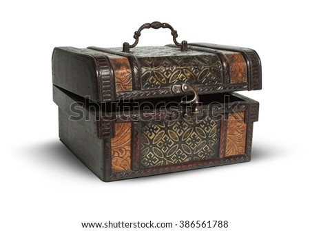 vintage wooden opened a chest on a white background. Clipping Path