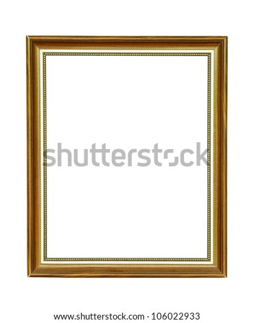 Vintage wooden picture frame isolated on white