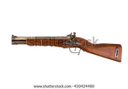 Vintage wooden rifle isolated on white background
