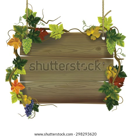 Vintage wooden signboard with grapes. Contain the Clipping Path - stock photo