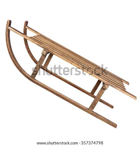 Vintage wooden sledge isolated on white.