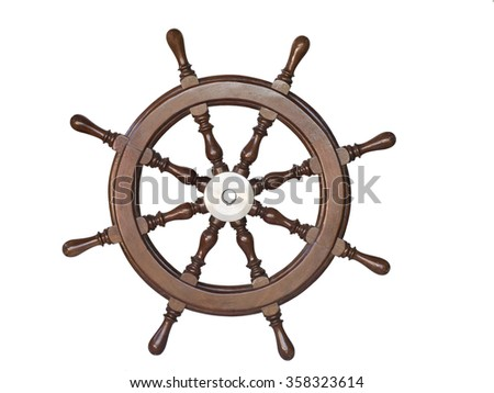 Vintage wooden steering wheel of the ship isolated on white background. - stock photo