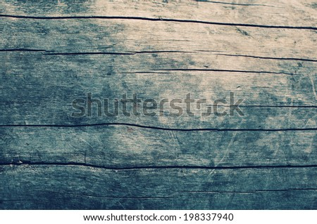 Vintage wooden table background, top view - stock photo