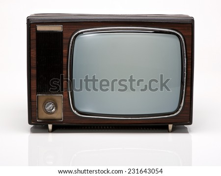 Vintage Wooden TV isolated on White Background. Front View with Real Shadow. Copy Space for Text or Image - stock photo