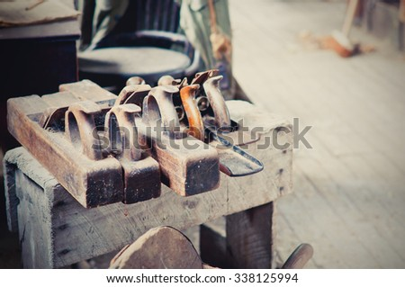 Vintage woodworkers tools - stock photo