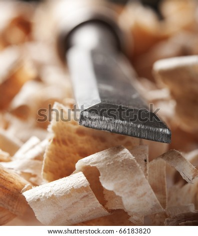 Vintage woodworking tool and wood chips, macro - stock photo