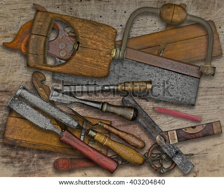 vintage woodworking  tools over wooden bench - stock photo
