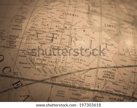 Vintage world map Africa - stock photo