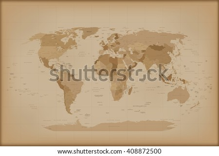 Vintage World Map.  illustration Isolated on white background.  - stock photo