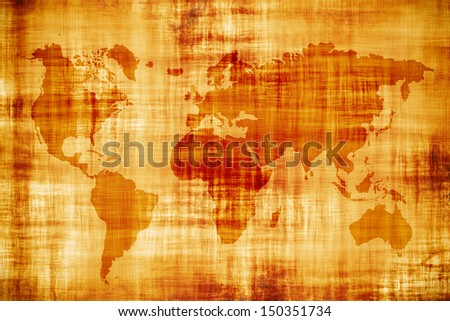 Vintage world map, old parchment - stock photo