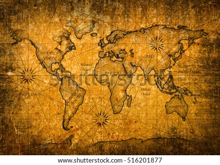 Vintage world map with grunge texture