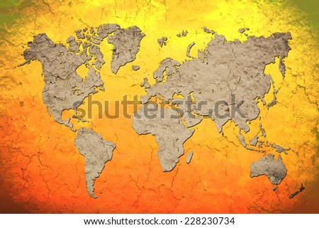 vintage world map with Red background - stock photo