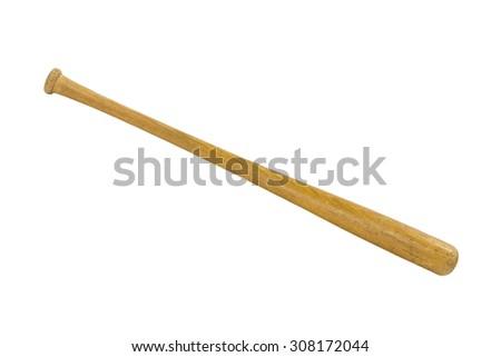 Vintage worn baseball bat isolated  - stock photo