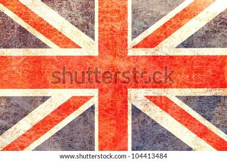 Vintage worn look United Kingdom Flag - stock photo