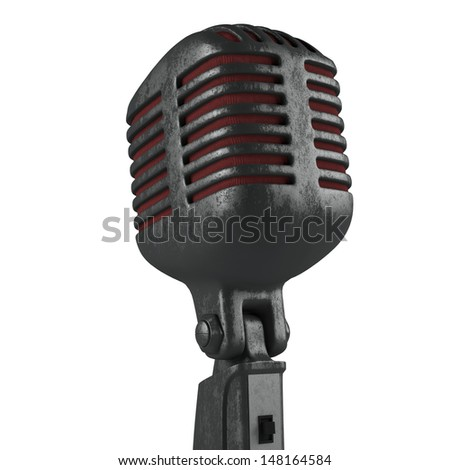 Vintage worn  microphone, covered with corrosion isolated - stock photo