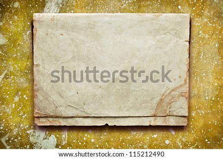 Vintage yellow background with old paper, letters and photos - stock photo