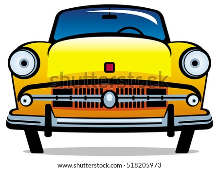 Vintage yellow car isolated on a white background. Raster clip art